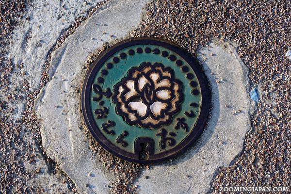 Manhole cover in Omura City, near Omura Park