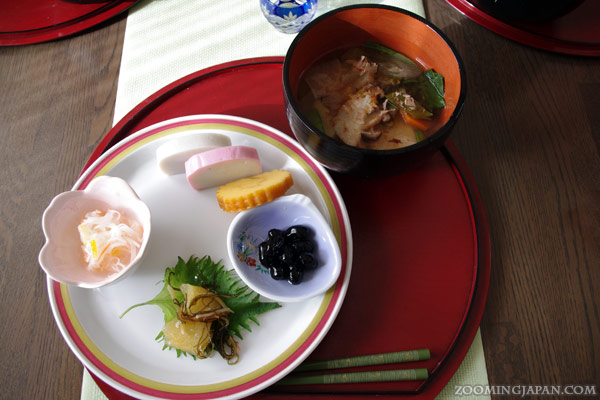 Zoni, a traditional soup with vegetables and mochi eaten on shogatsu (Japanese New Year's Day)