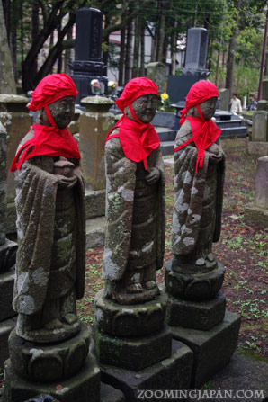 Stone statues near Matsumae Castle