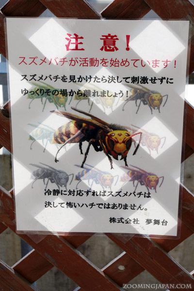 Warning sign of suzumebachi in Yumebutai, Awaji Island