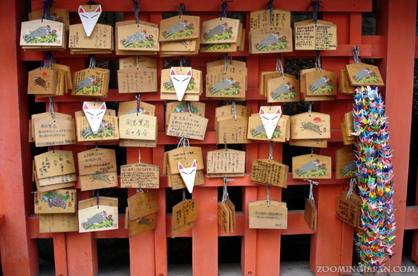 Fox ema, wooden wishing plaques as Kyoto's Fushimi Inari Shrine