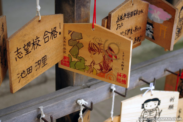 Anime ema, cute wooden wishing plaques found at  a shrine in Kishiwada, Osaka