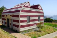 Tashirojima - Cat Island: One of the cat-shaped buildings of Manga Island